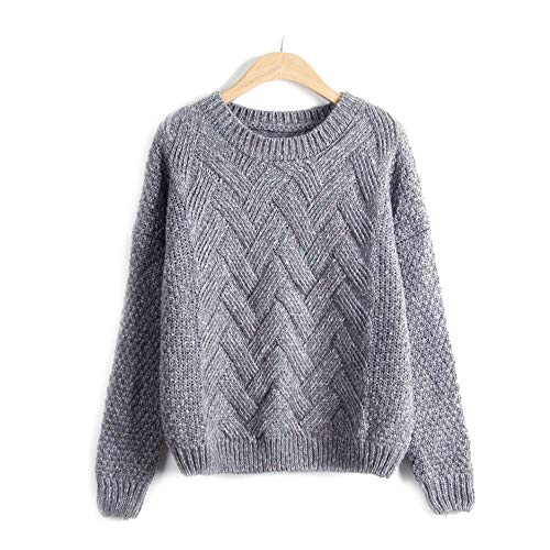 (YoungG-3D Pull Femme Autumn Winter Women Sweaters Pullovers Plaid Thick Knitting Mohair Sweater Loose Gray One Size)