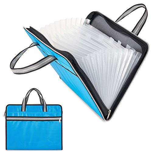 Waterproof Canvas Expandable File Folders Handbag Portable 13 Pockets A4 Size Business Accordion Document File Organizer Storage Bag with Zipper Closure Handles (Light Blue)