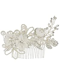 EleQueen Women's Silver-tone Crystal Simulated Pearl Flower Leaf Bridal Hand-made Hair Comb Clear