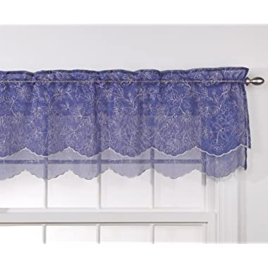 Stylemaster Renaissance Home Fashion Reese Embroidered Sheer Layered Scalloped Valance, 55-Inch by 17-Inch, Cobalt