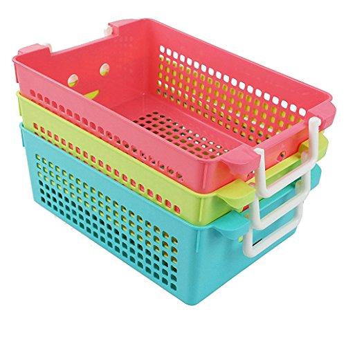 Ggbin Plastic Storage Basket with Handles, Set of 3, 12