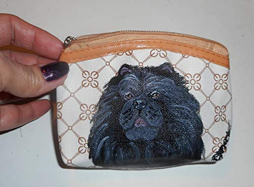 Black Chow Chow Dog Hand Painted Coin Purse Pouch