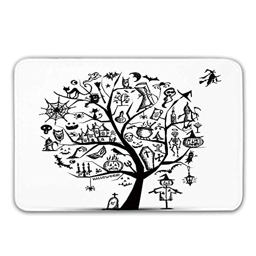 Halloween Decorations Front Door Mat,Sketchy Spooky Tree with Spooky Decor Objects and Wicked Witch Broom Doormat for Inside or Outside,31.5