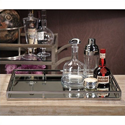 Le'raze Mirrored Vanity Tray, Decorative Tray with Chrome Rails for Display, Perfume, Vanity, Dresser and Bathroom, Elegant mirror tray Makes A Great Bling Gift –16X10 Inch by Le'raze (Image #5)