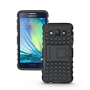 Samsung Galaxy A3 A3000 Stand Case,Classic Stylish Black Tough Hard Rugged Builders Shock Proof Heavy Duty Case With Back Stand for Samsung Galaxy A3 A3000