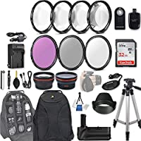 58mm 28 Pc Accessory Kit for Canon EOS T6i, T7i, 77D, T6s, 750D, 800D, 760D DSLRs with 0.43x Wide Angle Lens, 2.2x Telephoto Lens, Battery Grip, 32GB SD, Filter & Macro Kits, Backpack Case, and More