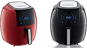 GoWISE USA 5.8-Quart Programmable 8-in-1 Air Fryer XL + Recipe Book (Chili Red) & USA 1700-Watt 5.8-QT 8-in-1 Digital Air Fryer with Recipe Book, Black