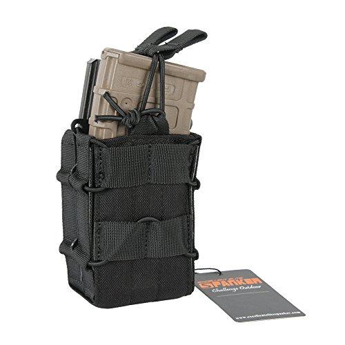 EXCELLENT ELITE SPANKER Open-Top Single/Double Mag Pouch for M4 M14 M16 AR15 Magazine(BLK) ()