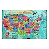 Cooper girl Cartoon USA Map Area Rug Lightweight Polyester 31X20 Inches Indoor Outdoor Decorative Floor Rug