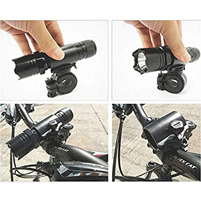 CreazyBee Torch Clip Mount Bicycle Front Light Bracket Flashlight Holder 360°Rotation (Black): Garden & Outdoor