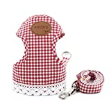 uxcell Puppy Harness Dots Stripe Small Dog Harness Leash Set Soft Mesh Pet Cat Vest Padded, Red Grid, S