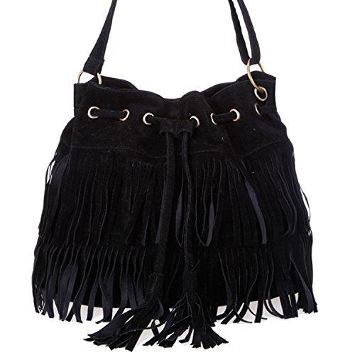 Suede Tassel Fringe Vintage Crossbody Bag Shoulder Bag for Women and Teenager (One size, Black)