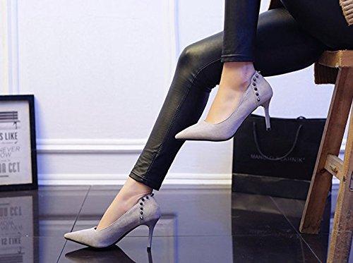 Work Heels Occupation 8Cm High Heels Heads Work Single Sharp Women Suede MDRW Shoes Shoes Rivets Leisure Spring Fine Lady Gray Elegant Elegance 39 qffTpn8H