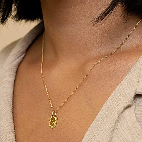 UHIBROSNecklaces for Women, 14K Gold Plated Hexagon Initial Necklaces, Dainty Personalized Alphabet Letter Choker with Adjustable Chain Pendant, Jewelry Gift for Women, Girls or Men-E
