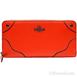 Coach Grain Leather Mickie Accordion Zip Around Wallet 52645 QB/Orange