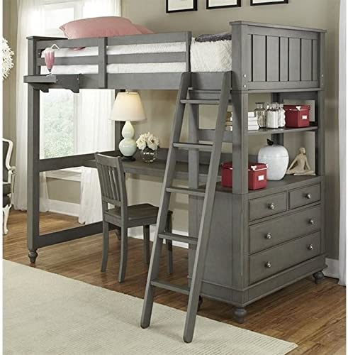 Amazon Com Ne Kids Lake House Twin Loft Bed With Desk In Stone