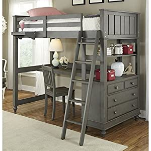 Rosebery Kids Twin Wood Loft Bunk Bed with Desk and Dresser in Stone Gray