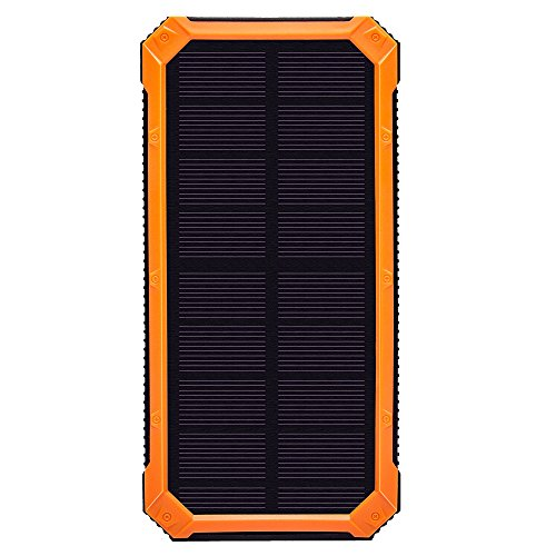 Solar Power Chargers 20000mAh, Waterproof/Shockproof/Dustproof compass Dual USB Battery Solar Battery Fast Charger External Battery Pack, Power Bank with LED light for Smartphones (Orange, 20000mah)