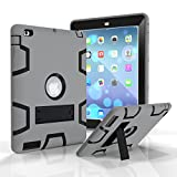 iPad 3 Case, iPad 4 Case, iPad 2 Case, Jeccy Dual layer Rugged Slim Full-body Shock Proof Hybrid Heavy Duty Armor Defender Protective Case with Kickstand for Apple iPad 2/3/4 (Gray-Black)