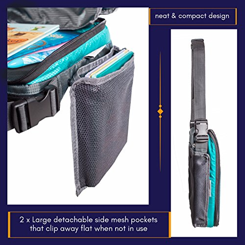 ORGANIZED EMPIRE's Detachable 4 in 1 Car Seat Travel Tray, Storage Organizer, Carry Bag & Tablet Holder for kids all in one. Most stable back seat Snack Tray on the market, no balancing required by Organized Empire (Image #5)