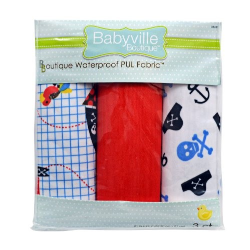 Pirate Boutique - Babyville Boutique 35281 PUL Fabric, Pirates, Skulls and Red Solid, 21 x 24-Inch (3-Count)