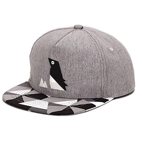 King Star Men Solid Flat Bill Hip Hop Snapback Baseball Cap Penguin-Gray