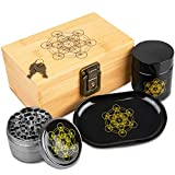 Stash Box Combo - Locking Wooden Box with Grinder, Rolling Tray, Smell Proof Glass Jar - Bamboo Box with Lock Accessories Kit - Metatron's Cube Design