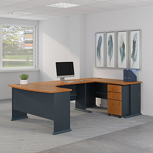 Bush Business Furniture SRA064NCSU Office Suite, Natural Cherry and Slate