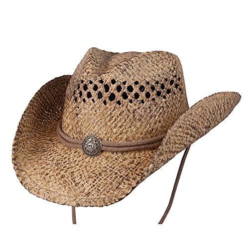 (Conner Hats Men's John Stone Western Shapeable Raffia Hat, Coffee, S/M)