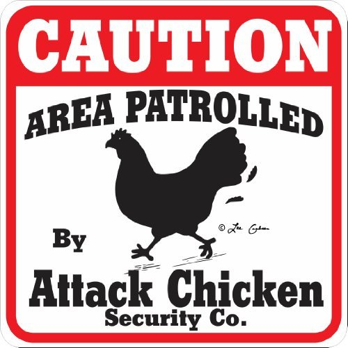 Maureen52Dorothy Caution Attack Chicken Sign Caution Area Aluminum Metal Signs Caution Sign Tin Sign Plate