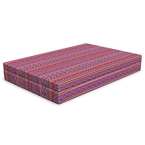 (Lunarable Aztec Dog Bed, Vibrant Ornamental Tribal Inspired Geometric Illustration in Pink Violet Shades, Durable Washable Mat with Decorative Fabric Cover, 48