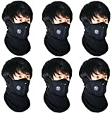 Black Men Face Mask 6pcs Combo for Bikers Dust Protection Fabric