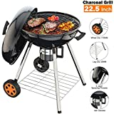 TACKLIFE Charcoal Grill, 22.5 inch Portable Advanced Grill with Digital Thermometer, One-Button Cleaning System, Stable Rack for Moving Anywhere, Suitable for 5-12 People Camping Barbecue -CG02A