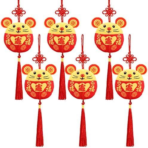 welltop 2020 Chinees Nieuwjaar Rat Ornament Decoraties Jaar van de Muis Festival Mascotte Pluche Speelgoed Rode Chinese Knoop Muis Hanger voor Woondecoratie 6 Packs