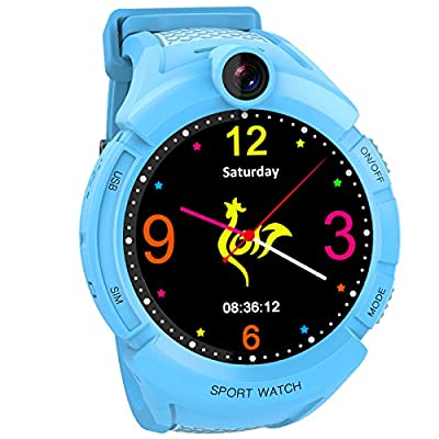 Smartwatch GPS Tracking for kids, with Touch Screen Phone Call Anti-lost Remote Wristband Bracelet for Children (USA Edition) (001 Blue)