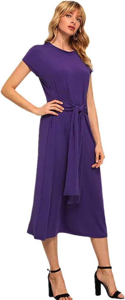 LIM/&Shop Women Summer Casual Shirt Dress Long Maxi Dress Short Sleeves Tunic Beach Waist Belted Crew Neck Swing Skirt