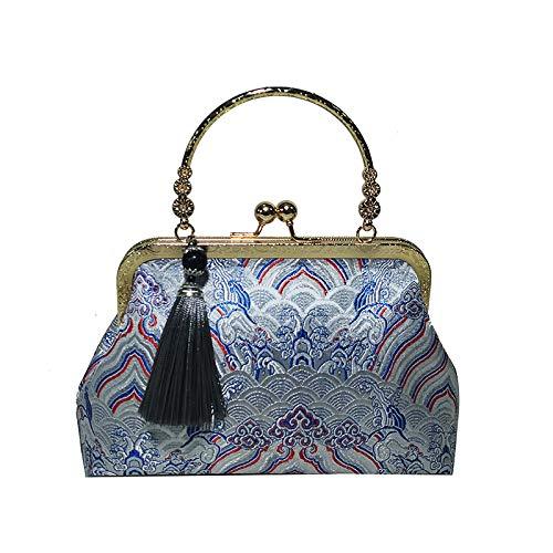 Blue Stile Zm Stampa Sera Donna Con In Cinese Da Borsa Ricamo Etnico Nappe Tascabile Elegante wXYYr6HxEq