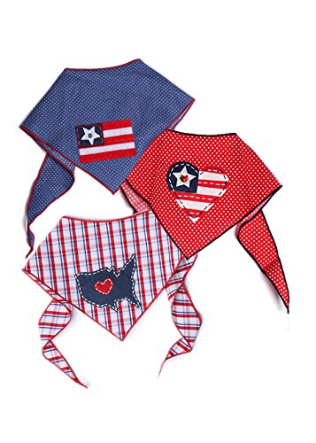 Tail Trends 3 Pack Pet Dog Bandanas with Star Patriotic Flag Peace Sign Applique Designs - 100% Cotton