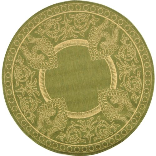 Safavieh Courtyard Collection CY2965-1E06 Olive and Natural Indoor/ Outdoor Round Area Rug (6'7