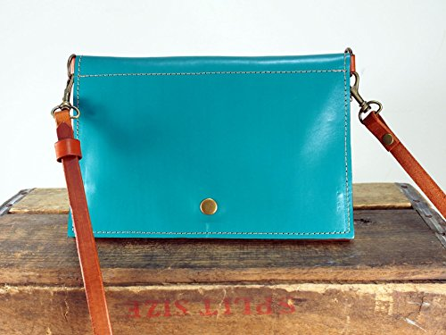 Teal Blue Leather Crossbody Purse by Julie Meyer Handbags