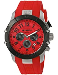 BTECH Quartz Stainless Steel and Silicone Watch, Color:Red (Model: BT-IM-312-03)