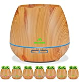 #6: Miserwe Diffuser Aromatherapy Essential Oil Diffuser Planter for Home Office Bedroom Nursery - 550ML Planting Platform 4 Timer Settings 7 Color LED Lights Cool Mist Auto Shut-Off