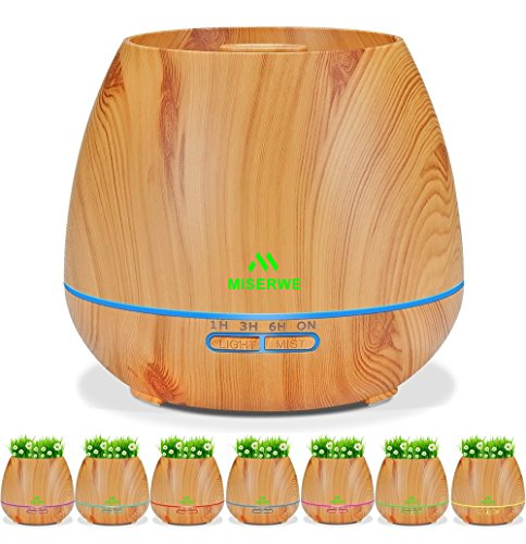 Miserwe Diffuser Aromatherapy Essential Oil Diffuser Planter for Home Office Bedroom Nursery - 550ML Planting Platform 4 Timer Settings 7 Color LED Lights Cool Mist Auto Shut-Off