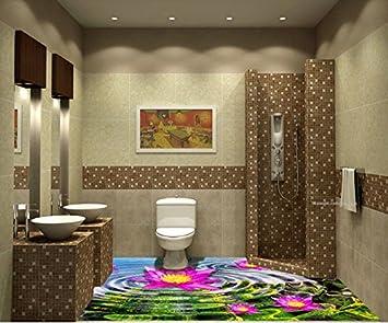 3d Fußboden Fürs Badezimmer ~ Lqwx d bodenfliesen für bad custom pvc bodenbeläge roll lotus