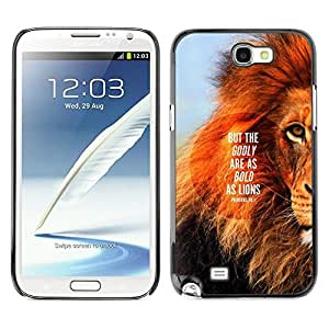 FlareStar Colour Printing Lion Text Mane Inspiring Quote Summer cáscara Funda Case Caso de plástico para SAMSUNG Galaxy Note 2 II / N7100