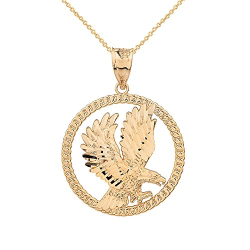 Solid 10k Yellow Gold American Eagle Round Rope Design Frame Necklace, 16