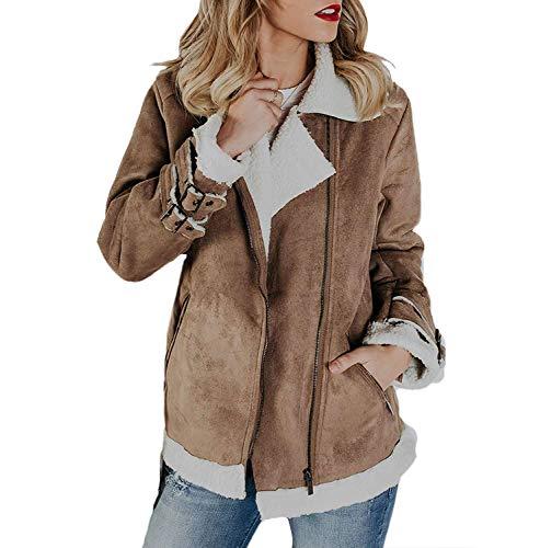 - Lookwoild Womens Faux Suede Jacket Fleece Sherpa Lined Zip Up Coat Winter Warm Outwear (Khaki, XXL)