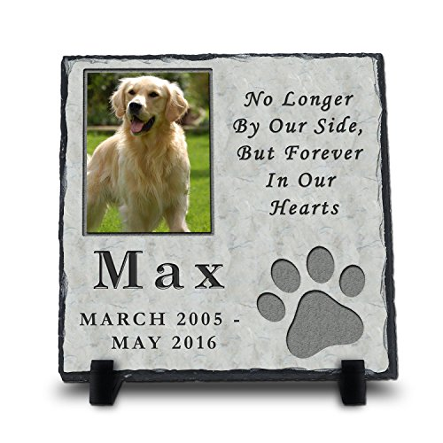 InspiraGifts Custom Pet Memorial Stone | Pet Remembrance | Personalized Dog or Cat Photo Slate (Headstones Slate For Graves)