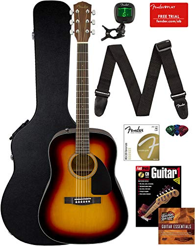 Fender CD-60 Dreadnought Acoustic Guitar – Sunburst Bundle with Hard Case, Strap, Tuner, Strings, Picks, Instructional Book, and Austin Bazaar Instructional DVD