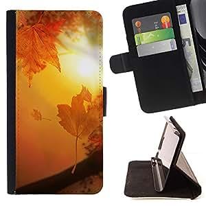 For LG G4 Stylus / G Stylo / LS770 H635 H630D H631 MS631 H635 H540 H630D H542 Case , Brown de oro Puesta de sol Sol Hojas- la tarjeta de Crédito Slots PU Funda de cuero Monedero caso cubierta de piel